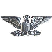 Signed Sterling Military Style Eagle Pin