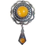 Sterling & Natural Egg Yolk Amber Pin