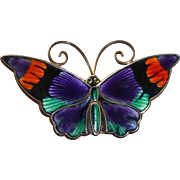 David Andersen Norway Sterling & Jewel Tone Enamel Butterfly Pin