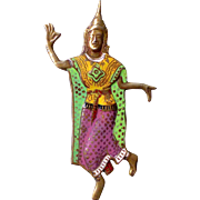 Sterling Gold Wash Enamel Royal Siam Dancer Pin
