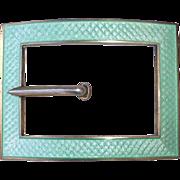 Sterling Silver Guilloche Enamel Buckle Design Sash Ornament Brooch