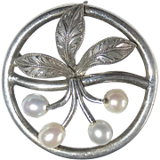 Sterling Circle Pin Engraved Leaves & Cultured Pearls