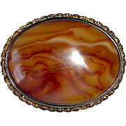 Sterling Silver Gold Wash Unique Agate Pin
