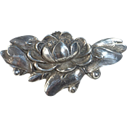 Sterling Lotus Blossom on Lily Pad Pin