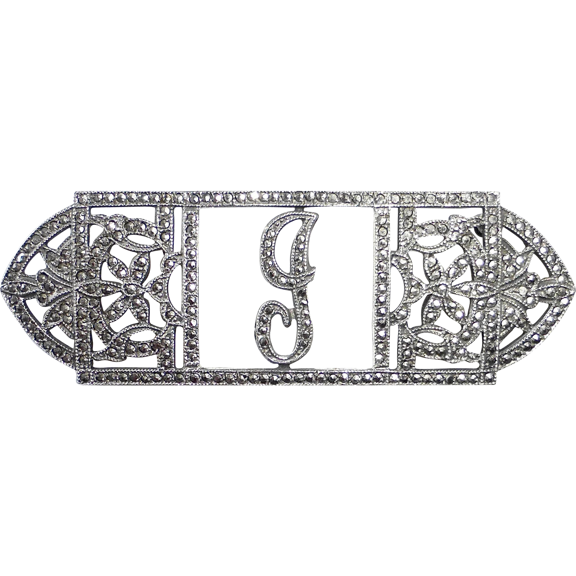 Art Deco Sterling Silver & Sparkling Marcasite Script G Initial Pin