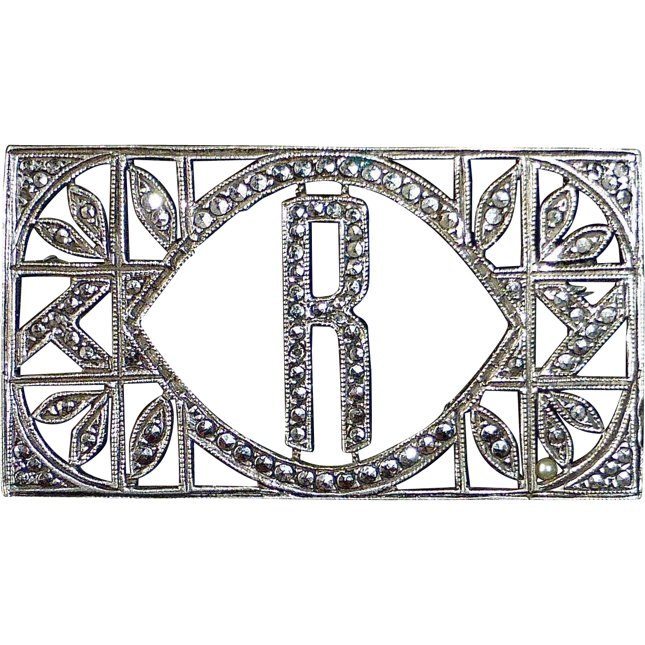 Sparkling Art Deco Sterling Silver & Marcasite R Initial Pin