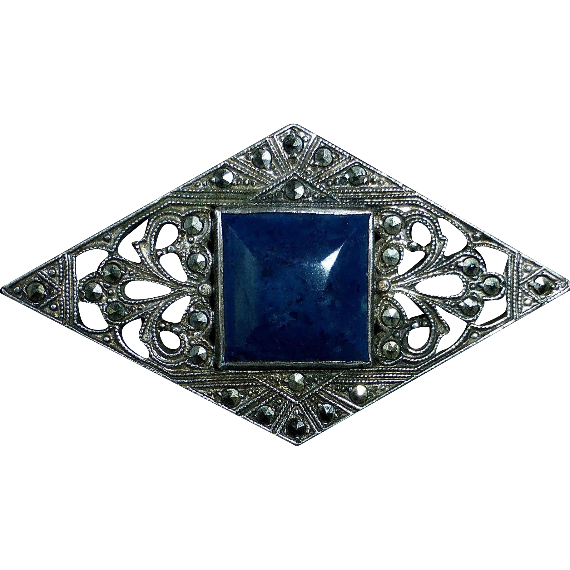 Art Deco Pierced Sterling & Marcasite Pin Blue Agate