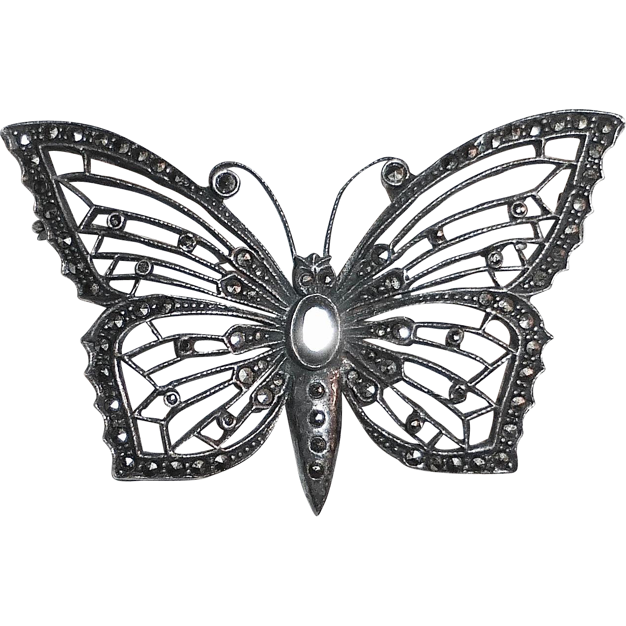 Filigree Sterling & Marcasite Butterfly Pin
