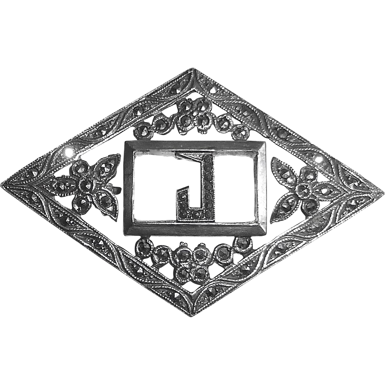 Art Deco Sterling Marcasite Initial J Pin