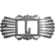 Sparkling Art Deco Sterling & Marcasite L Initial Pin