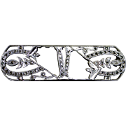 Art Deco Sterling Silver & Marcasite V Initial Pin