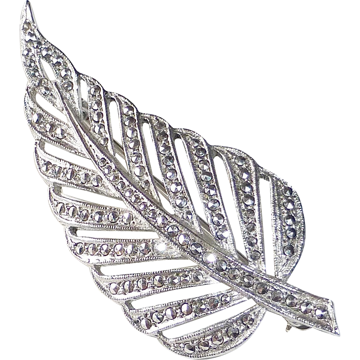 Sterling & Marcasite Figural Leaf Pin