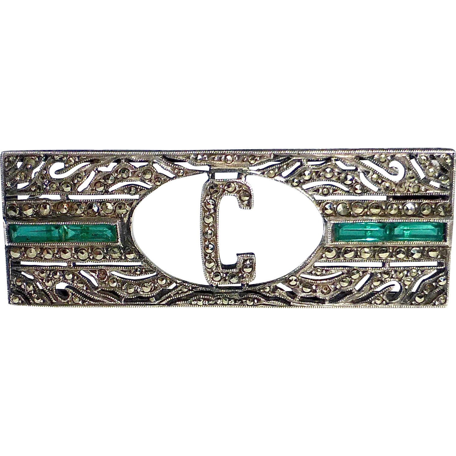 Art Deco Sterling Marcasite Initial C Pin w Green Jewels