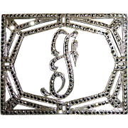Sparkling Art Deco Sterling Silver & Marcasite Initial F Pin