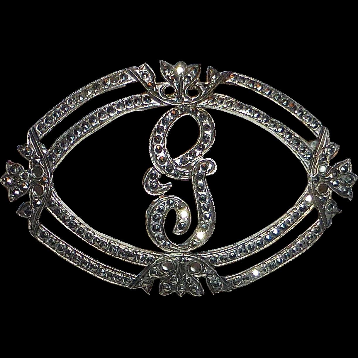 Glittering Art Deco Sterling Silver & Marcasite Script G Initial Pin