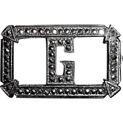Glittering Art Deco Sterling Silver & Marcasite G Initial Pin