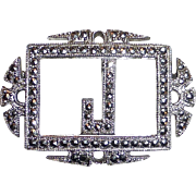 Art Deco Sterling Silver & Sparkling Marcasite J Initial Pin