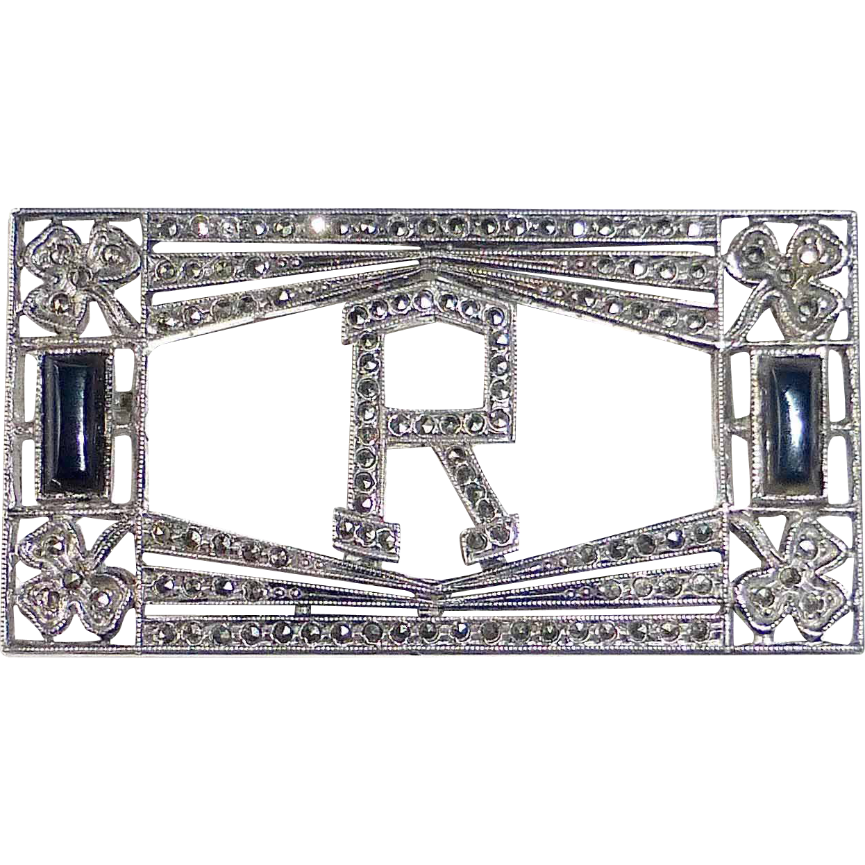 Art Deco Sterling Marcasite Onyx Initial R Pin
