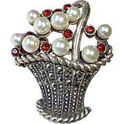 Sterling Basket Pin Marcasite Garnets Cultured Pearls
