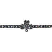 Sterling & Marcasite Bar Pin w Shamrock