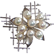 Modernist Sculptural Cultured Pearl Burst on Sterling Lattice Pin