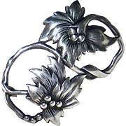 Stylized Sterling Silver Poinsettia Pin