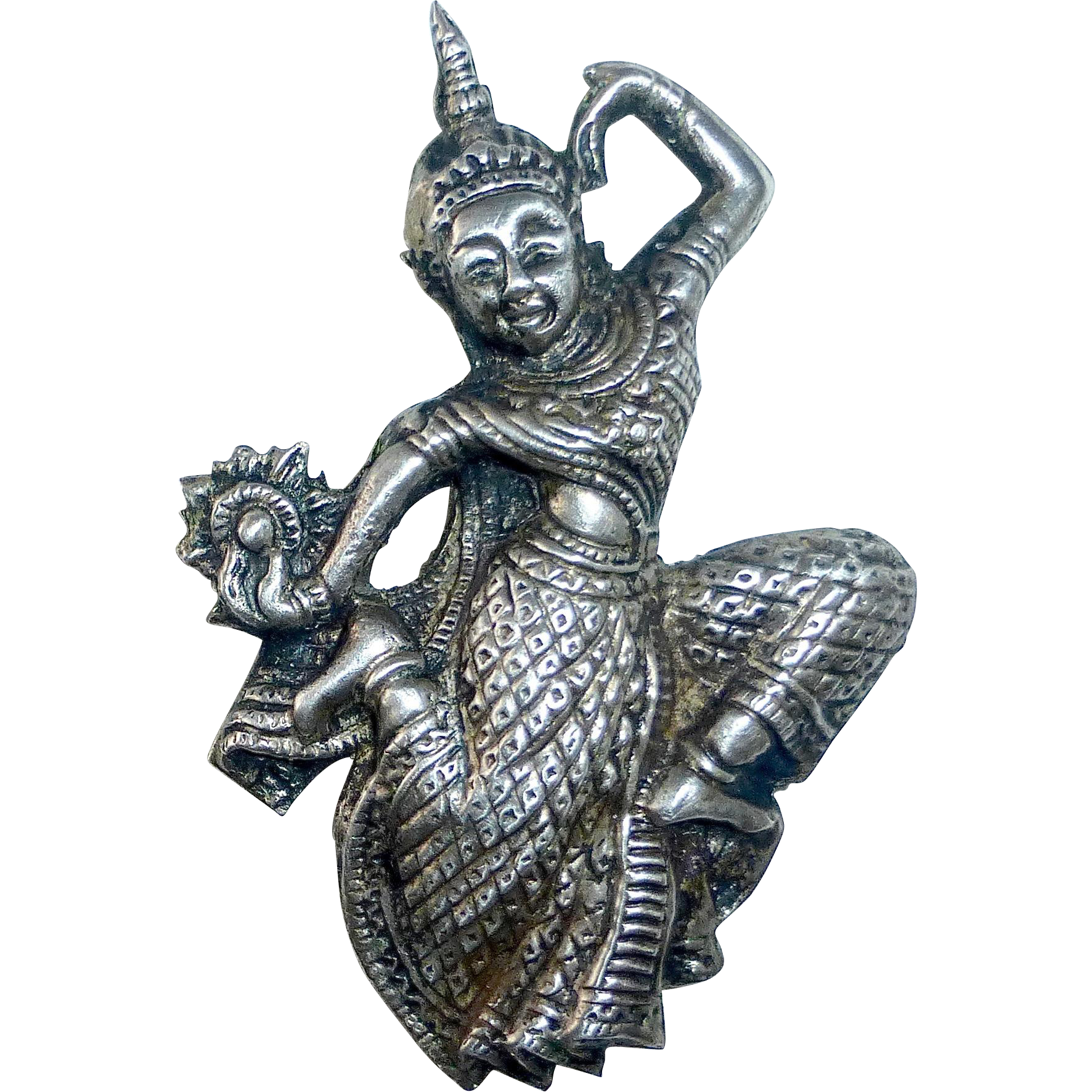 Siam Sterling Royal Dancer Repousse Pin