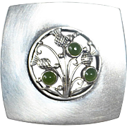 Sterling Thistle Pin w Chrysoprase Cabochons