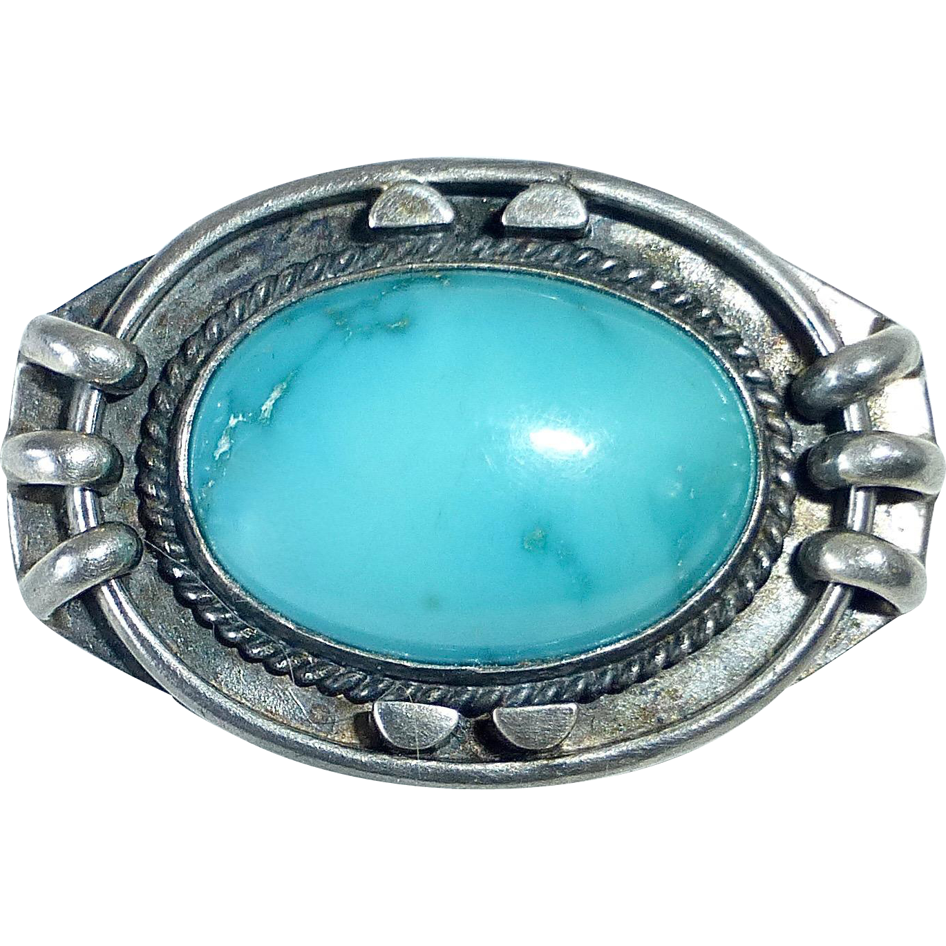 Sterling Silver & Turquoise Handcrafted Pin