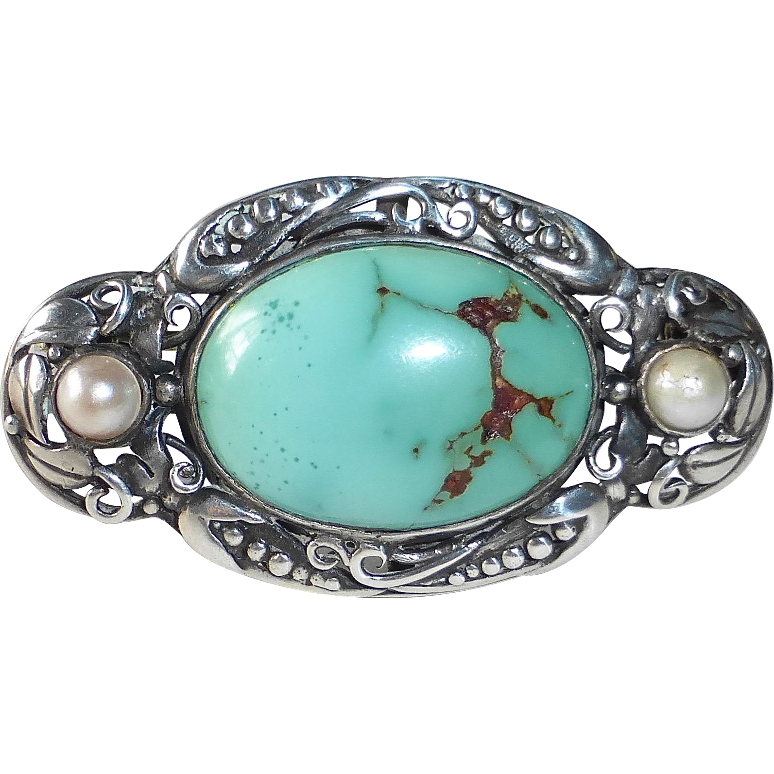 Turquoise Pin with Ornate Sterling Design