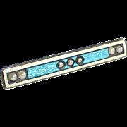 Art Deco Sterling & Enamel Bar Pin w Seed Pearls
