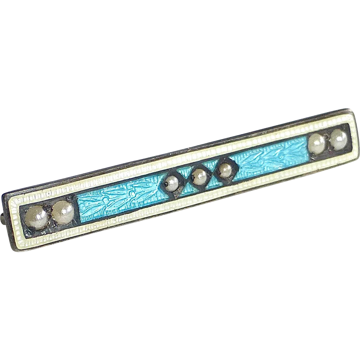 Art Deco Sterling & Enamel Bar Pin w Seed Pearls