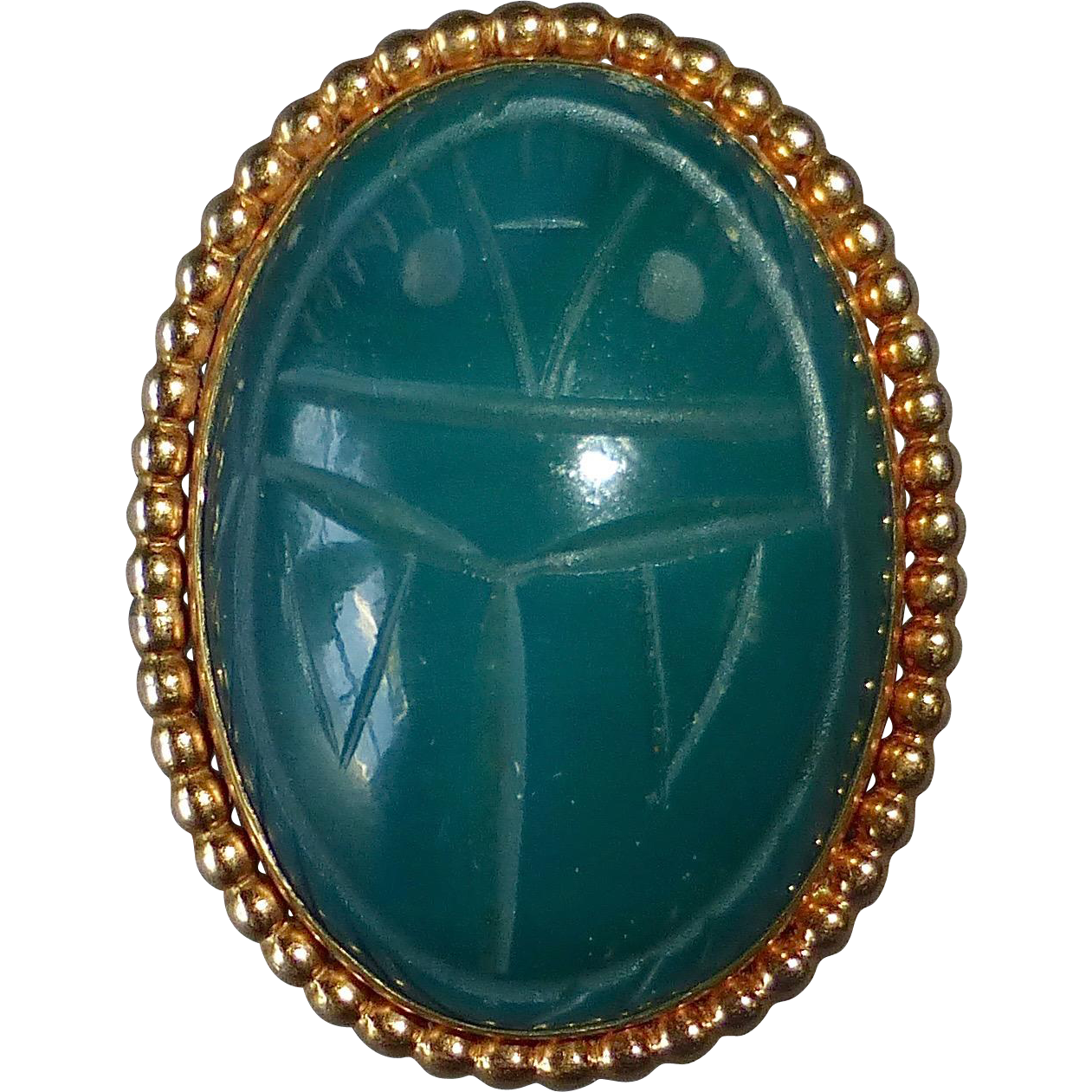 Egyptian Revival WRE Gold Filled Green Onyx Scarab Pendant/Pin