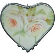 Ceramic Pottery Shard Pendant/Pin Heart w Roses