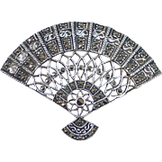 Sterling Silver & Marcasite Fan Pendant / Pin