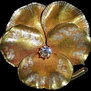 15k Sculpted Pansy Pendant/Pin Diamond c1879