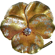15k Sculpted Pansy Pendant/Pin Diamond c1879