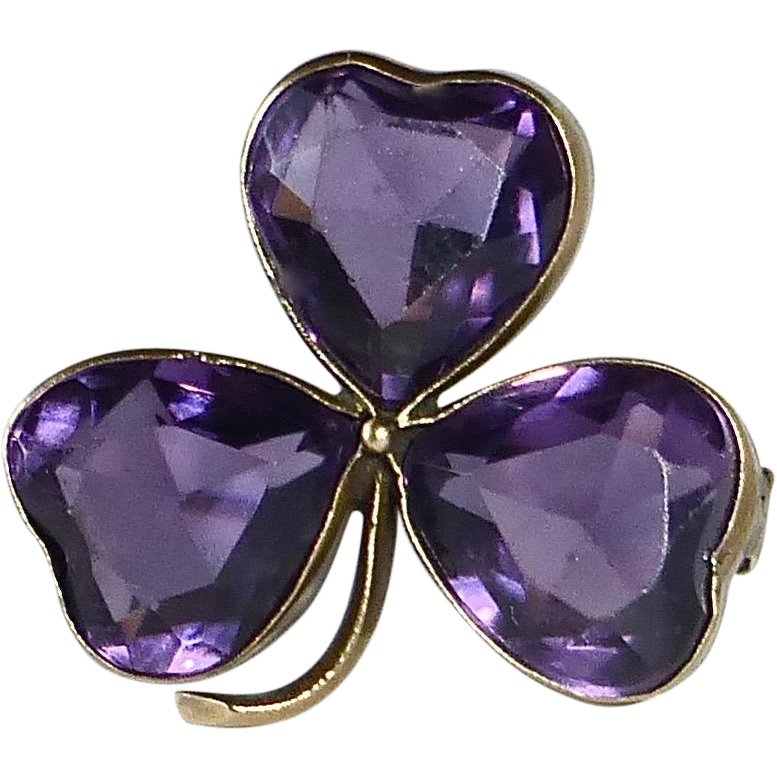 Antique Victorian Brass & Purple Glass Shamrock Pin