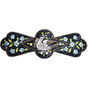 Antique Italian Micro Mosaic Mourning Pin White Dove & Forget-Me-Nots