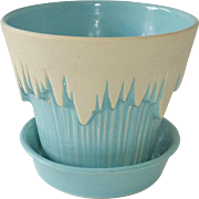 McCoy Aqua Snow Top Planter w Dish