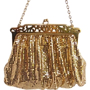 Whiting Davis Gold Mesh Evening Purse Pierced Frame