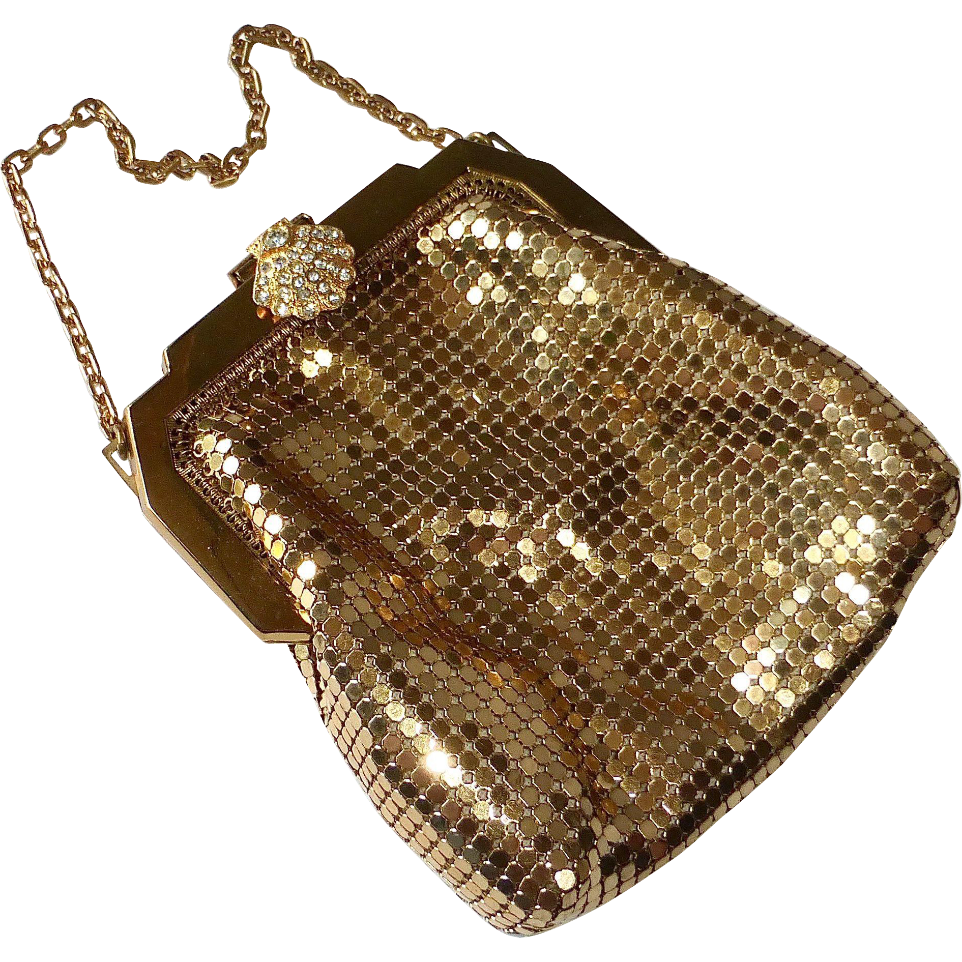 Whiting Davis Gold Metal Mesh Purse Original Box