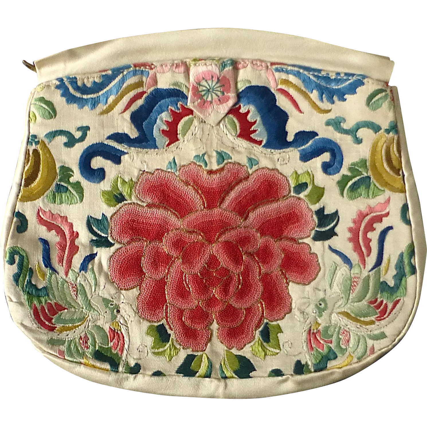Old Chinese Silk Floral Embroidered Clutch Purse
