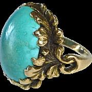 14k Arts & Crafts Sculptural Leaf Setting Turquoise Ring