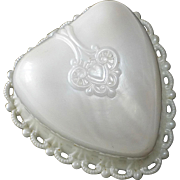 Dennison Decorative Pearly White Plastic Heart Ring Box