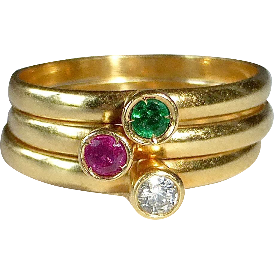 18k set of 3 stacking rings ruby emerald from