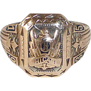 1935 Chicago 10k Art Deco School Ring