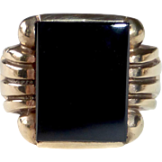 Art Deco 10k Black Onyx Ring
