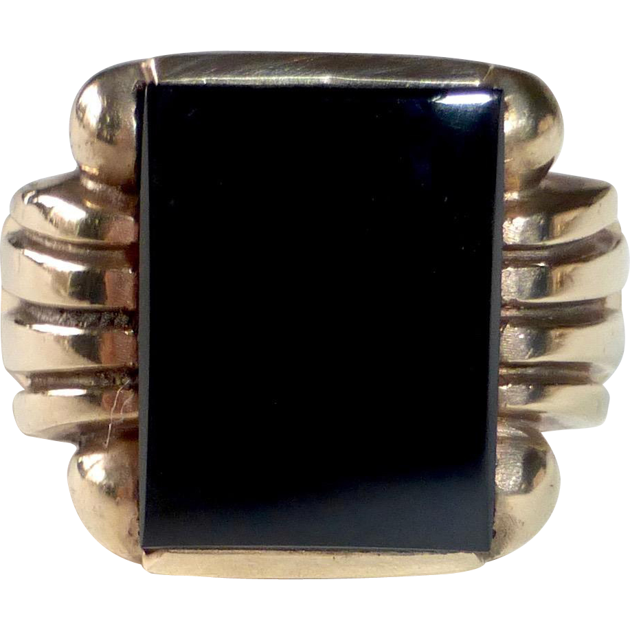 Art Deco 10k Black Onyx Ring
