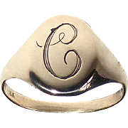 Antique Victorian 10k Rose Gold C Signet Ring